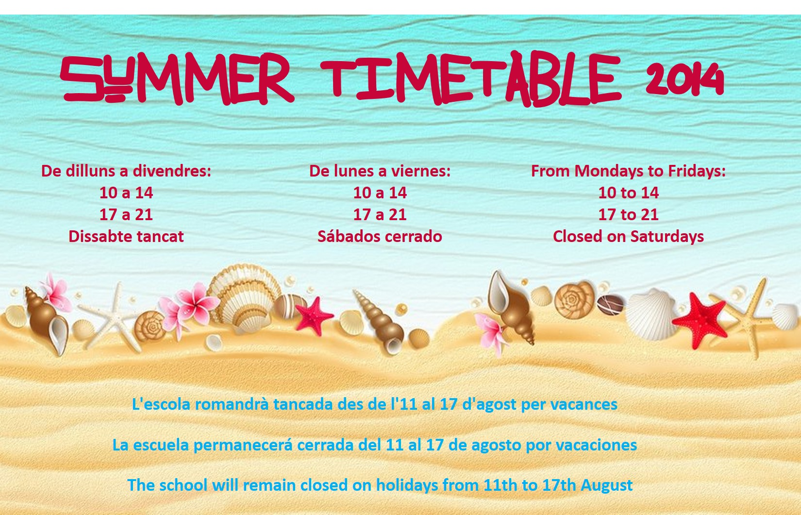 timetable summer 2014