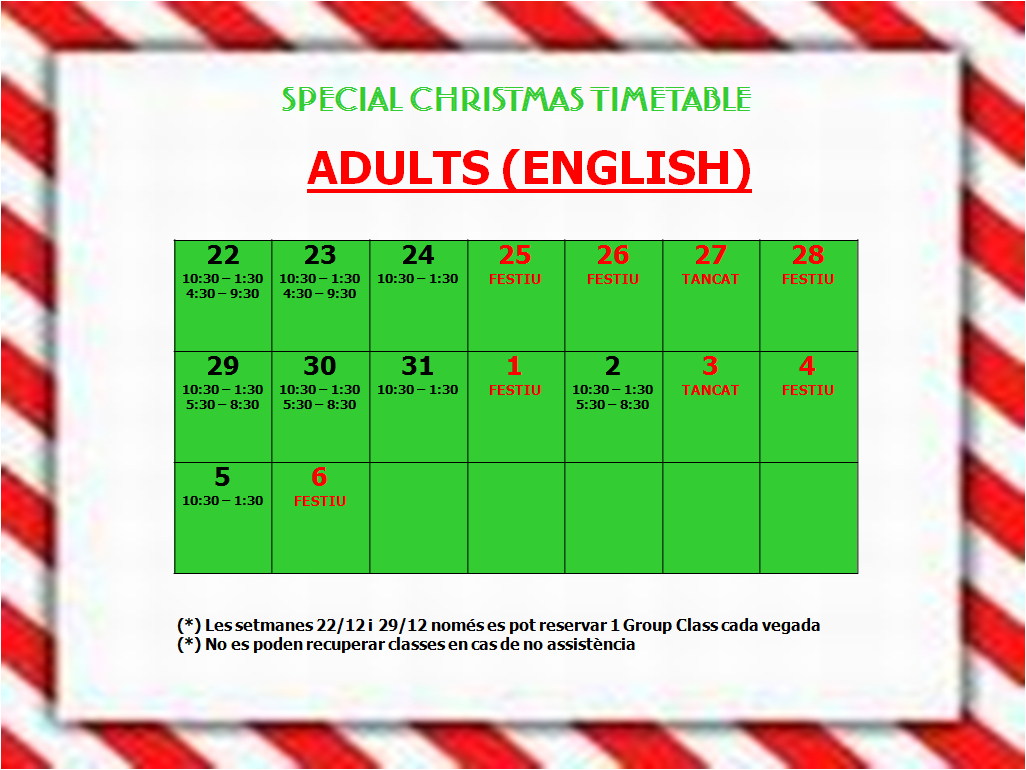 xmas timetable adults